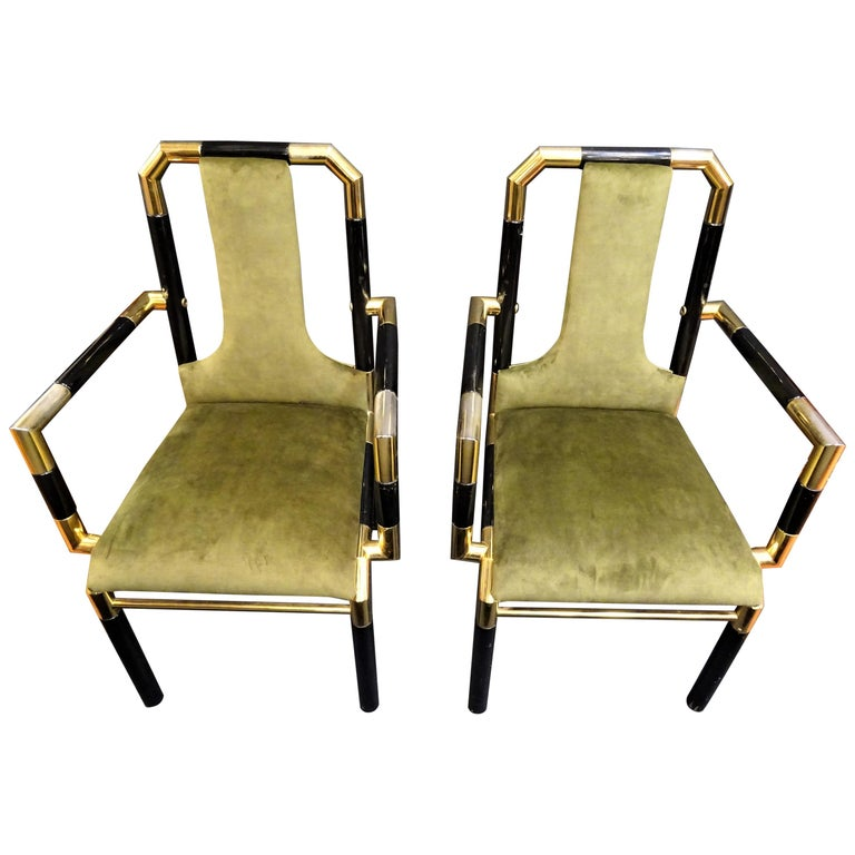 Willy Rizzo Workshop Pair of Armchairs, Green Velvet and Black Lacquered Wood For Sale