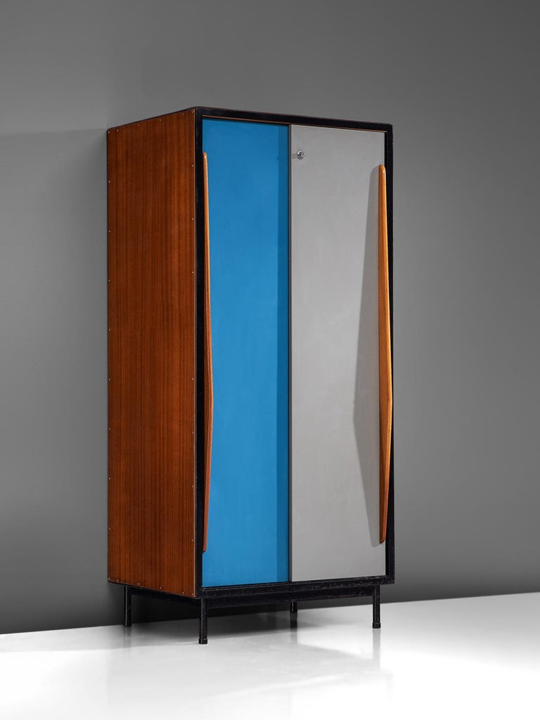 Willy van der Meeren for Tubax, cabinet in wood, mahogany and metal by Belgium, 1952.   Nice early example of Industrial design from the Belgium modernist stream, designed by Willy van der Meeren. Originally designed for use in school buildings