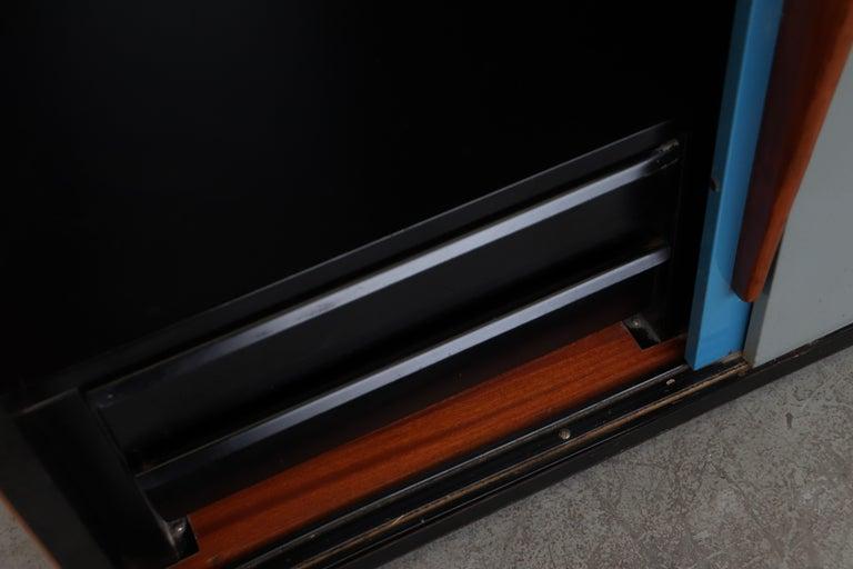 Willy Van Der Meeren Tall Metal Wardrobe for Tubax For Sale 3