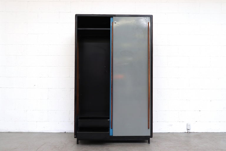 Mid-Century Modern Willy Van Der Meeren Tall Metal Wardrobe for Tubax For Sale