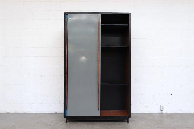 Belgian Willy Van Der Meeren Tall Metal Wardrobe for Tubax For Sale