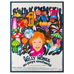 Willy Wonka and the Chocolate Factory French Film Movie Poster, Bacha, 1971