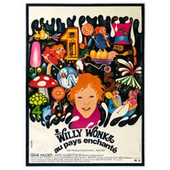Willy Wonka Large Giant French Film Movie Poster, Bacha, 1971, Linen Backed