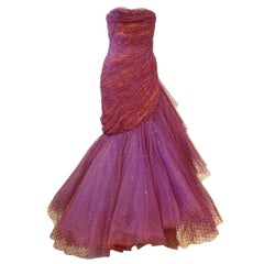 Wilma 1950s Couture Silk Tulle Gown w/ Sweeping Ruffle