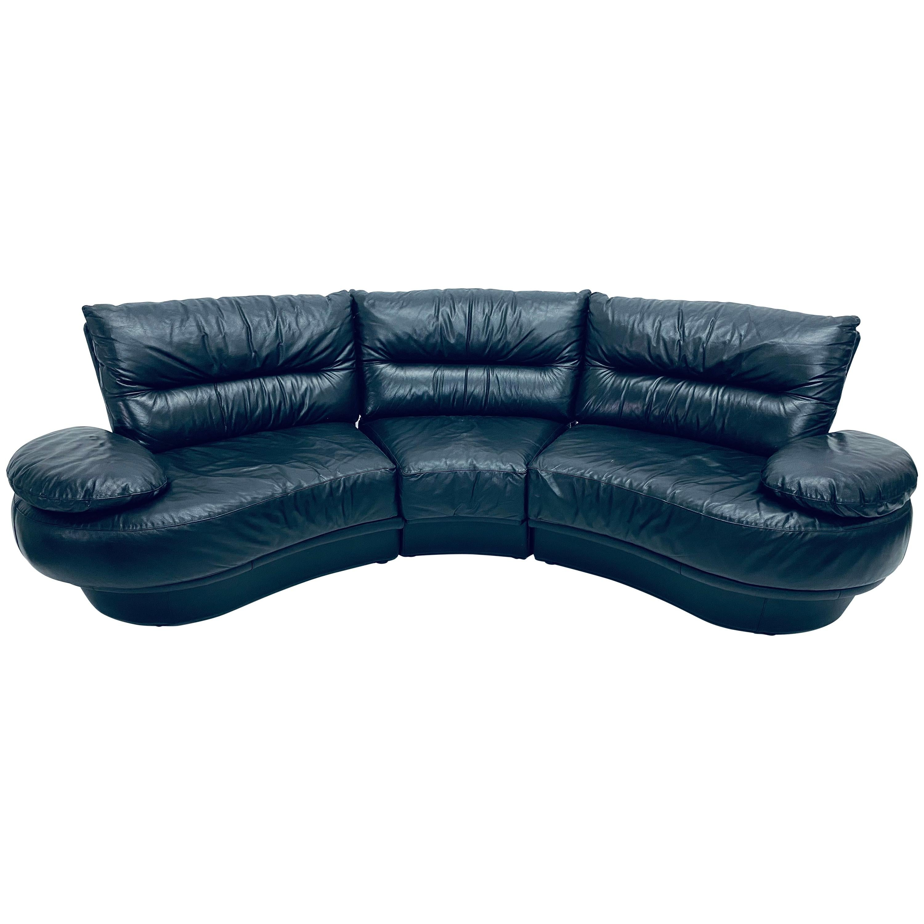 Wilma Salotti Postmodern Black Leather Rounded Back Sectional Sofa, Italy, 1980s
