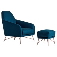 Wilma Set of Blue Armchair and Pouf by Angeletti Ruzza