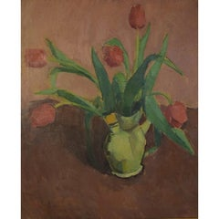 Wils, Vilhelm, Arrangement with Red Tulips in a Jug, Oil on Canvas