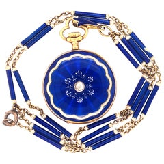 Wilson & Gill Vulcain Victorian Diamond Blue White Hand Enameled Watch Necklace