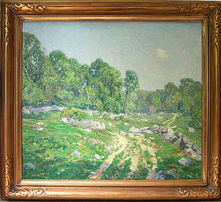 A Hazy Summer's Day. c. 1920. Oil on panel. 24 x 27 1/8 (framed 31 x 33 1/8). Signed, lower left. Housed in a contemporary Thanhardt Burger Impressionist style gold frame.  In 1914, when he was 45, that Irvine moved his family from Chicago to Old