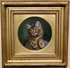 English early 20th century oil painting portrait of a Tabby Cat or Kitten