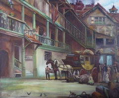 Wilson - 20th Century Oil, Stagecoach in a Courtyard