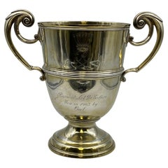 Wilson & Sharp Scottish Gilt Sterling Silver Two-Handled Large Trophy Cup
