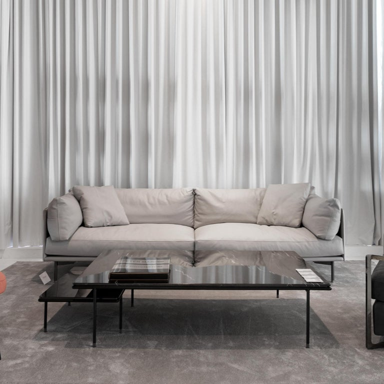Modern In stock in Los Angeles, Wilton Grey Leather Sofa, Designed by Christophe Pillet For Sale