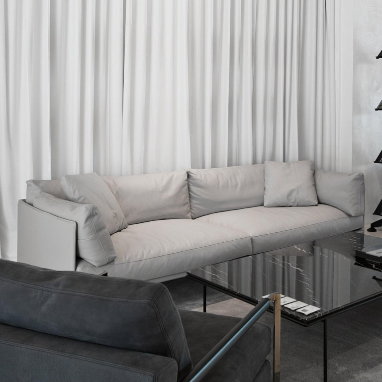 Italian In stock in Los Angeles, Wilton Grey Leather Sofa, Designed by Christophe Pillet For Sale
