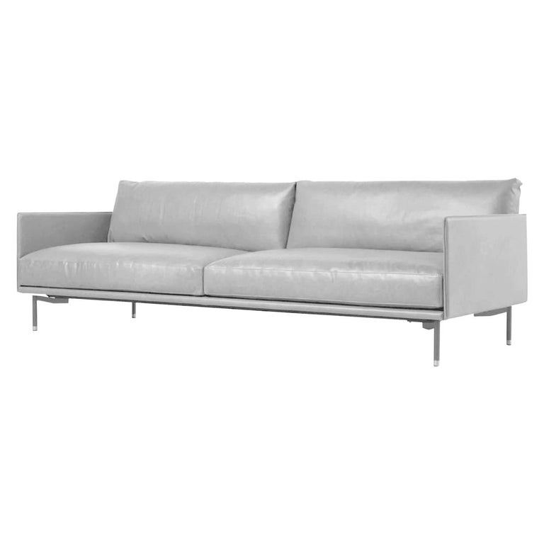 In stock in Los Angeles, Wilton Grey Leather Sofa, Designed by Christophe Pillet For Sale