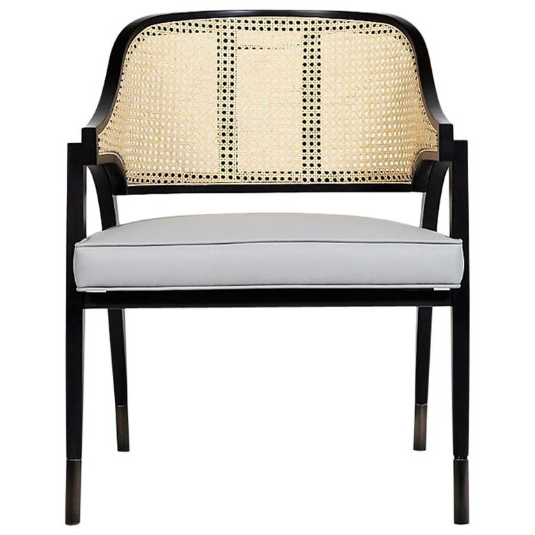Wilton Vintage Chair In Woven Rattan And Solid Wood For Sale At 1stdibs