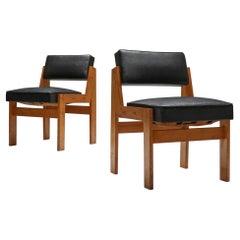 Wim Den Boon Easy Chairs in Oak and Original Vinyl