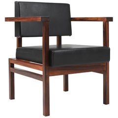 Wim Den Boon Executive Chair in Black Leather and Rosewood