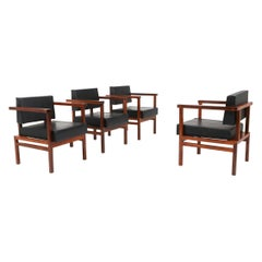 Wim Den Boon Executive Chairs in Black Leather and Rosewood