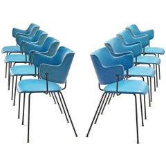 Wim Rietveld and W.H. Gispen Blue '205' Chairs for Kembo, Netherlands