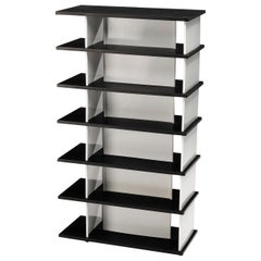 Wim Rietveld Free-Standing Bookcase in Black and White Metal