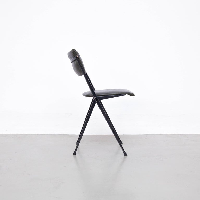 Mid-Century Modern Wim Rietveld Midcentury, Black Grey Pyramid Chair Netherlands, circa 1960s For Sale