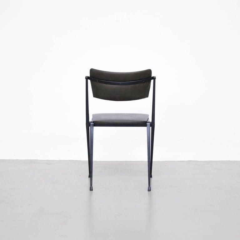 Dutch Wim Rietveld Midcentury, Black Grey Pyramid Chair Netherlands, circa 1960s For Sale