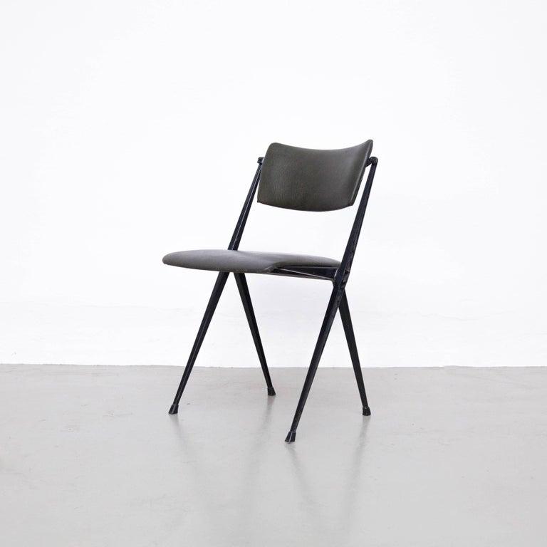 Mid-20th Century Wim Rietveld Midcentury, Black Grey Pyramid Chair Netherlands, circa 1960s For Sale