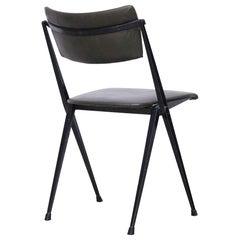 Wim Rietveld Midcentury, Black Grey Pyramid Chair Netherlands, circa 1960s