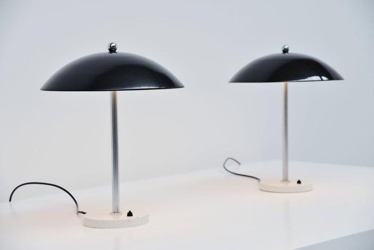 Mid-Century Modern Wim Rietveld Mushroom Table Lamp Pair Gispen 1950 For Sale