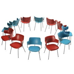 Wim Rietveld & W. Gispen for Kembo Dining Chairs '205' in Red and Blue Colour