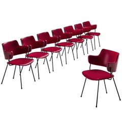 Wim Rietveld & W. Gispen for Kembo Dining Chairs '205' in Red Colour