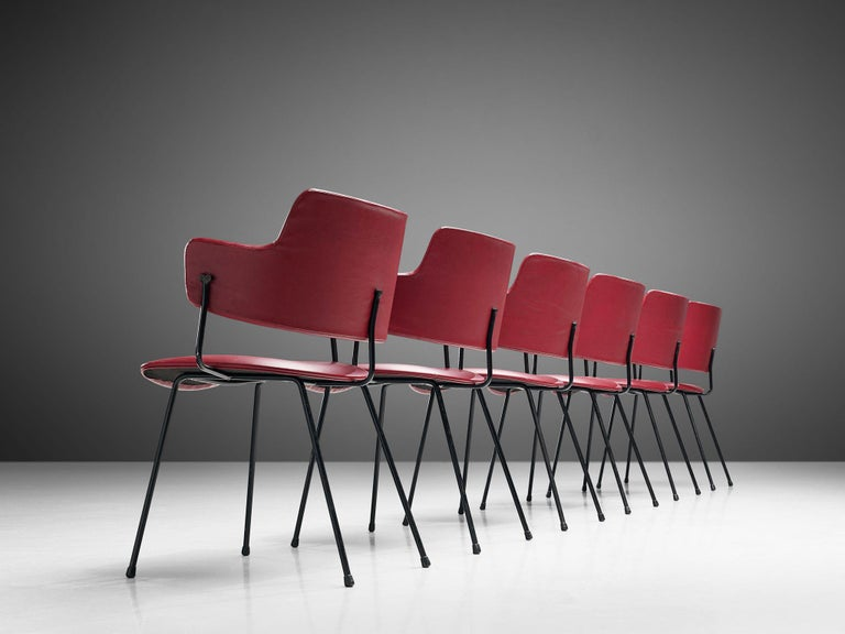 Dutch Wim Rietveld & W.H. Gispen '205' Chair in Red for Kembo For Sale