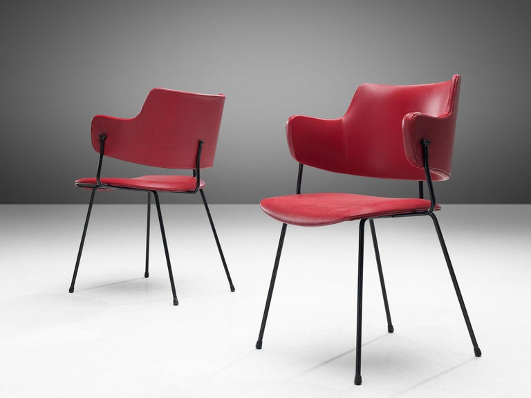 Wim Rietveld & W.H. Gispen '205' Chair in Red for Kembo In Good Condition For Sale In Waalwijk, NL