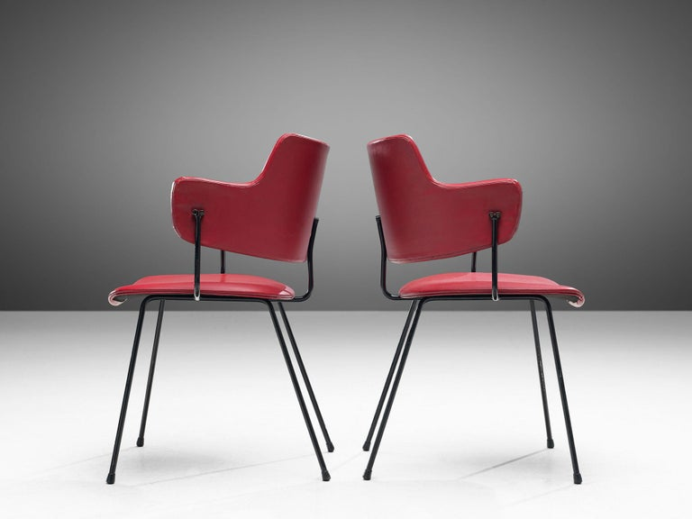 Mid-20th Century Wim Rietveld & W.H. Gispen '205' Chair in Red for Kembo For Sale