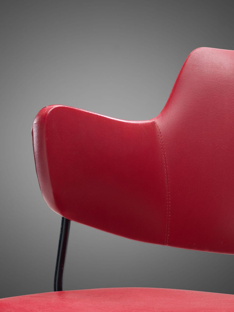 Metal Wim Rietveld & W.H. Gispen '205' Chair in Red for Kembo For Sale