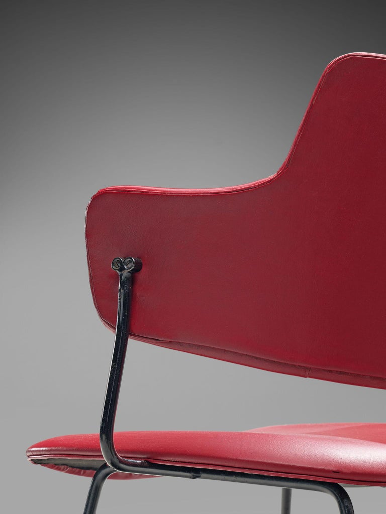 Wim Rietveld & W.H. Gispen '205' Chair in Red for Kembo For Sale 1