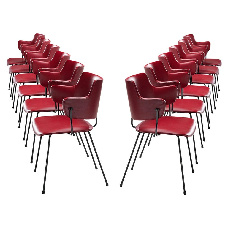 Wim Rietveld & W.H. Gispen '205' Chair in Red for Kembo For Sale