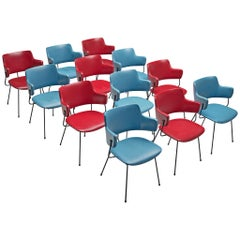 Wim Rietveld & W.H. Gispen '205' Chairs in Red and Blue Skai for Kembo