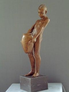 Aquarius Contemporary Bronze Sculpture Nude Male Figure Boy Marble Stone