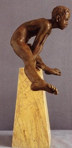 Ausum Bronze Contemporary Sculpture Marble Stone Nude Boy Male Figure