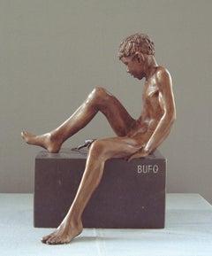 Bufo Contemporary Bronze Sculpture Nude Boy Marble Stone Male Figure