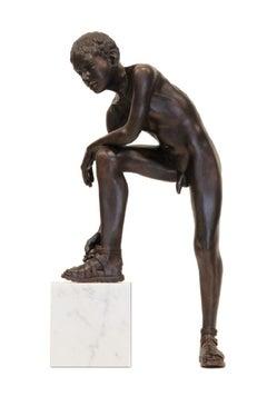 Crepis Bronze Sculpture Nude Boy Male Figure Marble Stone