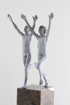 Cursus Bronze Sculpture Contemporary Nude Boys Male Figures Marble Stone