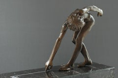 Duco Lineam Bronze Sculpture Boy Male Nude Figure Marble