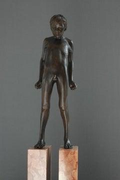 Eo Sine Manibus Bronze Sculpture Nude Boy Male Figure Standing Marble Stone