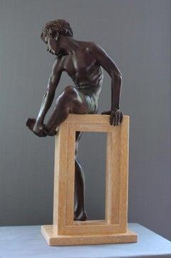 Finis Saltationis Bronze Sculpture Nude Boy Male Figure Marble Stone