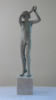 Gallulus Bronze Sculpture Nude Boy Male Figure Green Patina Marble Stone