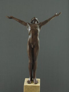 Icarus Bronze Sculpture Nude Boy Contemporary Marble Stone Male Figure
