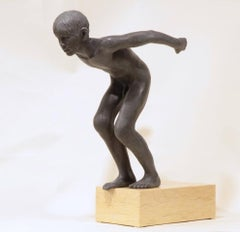 Insilit- 21st Century Bronze Realistic Sculpture of a Nude Boy Diving